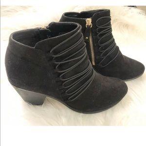 Dr.Scolls Black Suede Zip Elastic Ankle Boots